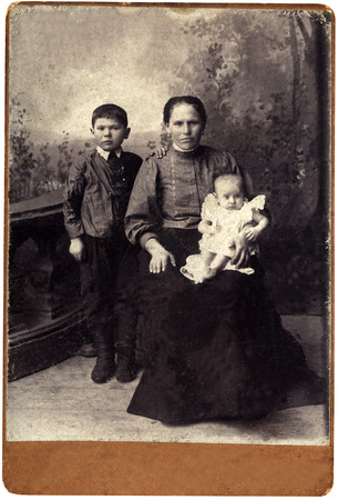 cossacks: Vintage portrait,family of the cossacks,1911 year,Russia.