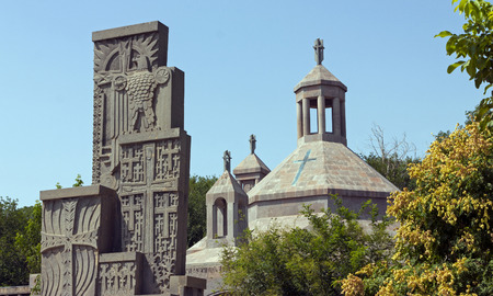 genocide: Genocide Memorial Monument and Baptisterium at Etchmiadzin Cathedral,Armenia Stock Photo