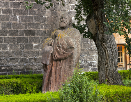 statesman: OSHAKAN, ARMENIA - AUGUST 1:Mesrop Mashtots, medieval Armenian linguist, theologian and statesman,invented the Armenian alphabet.August 1,2012 Oshakan,Armenia. Editorial