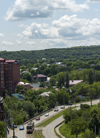 pyatigorsk: Aerial View of strit and tram in Pyatigorsk, Caucasus,Russia.