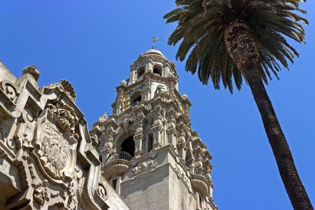 California Tower at the Museum of Man, Balboa Park, San Diego. 免版税图像