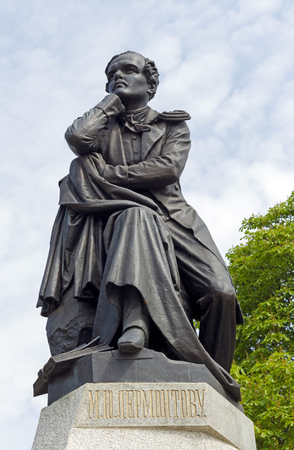 PYATIGORSK, RUSSIA - APRIL 30, 2017:The best in the Russian monument  poet  Mikhail Yurievich Lermontov in Pyatigorsk, Northern Caucasus,Russia (sculptor Opekushin, 1889)