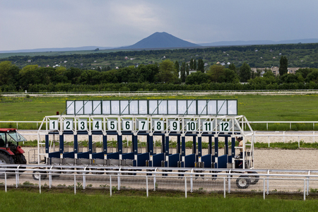 PYATIGORSK,RUSSIA - MAY 28,2017 : Horse racing starting gate  in Pyatigorsk,the largest in Russia on May 28,2017.