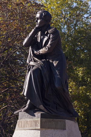 mikhail: PYATIGORSK, RUSSIA -OCTOBER 12, 2014:The best in the Russian monument poet Mikhail Yurievich Lermontov in Pyatigorsk, Northern Caucasus,Russia (sculptor Opekushin 1889)