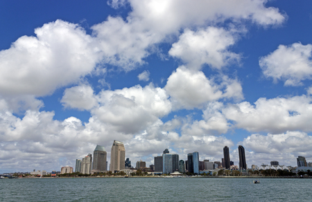 hotel building: A View of San Diego Bay and Downtown San Diego on a spring day, California,America