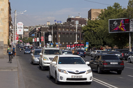 YEREVAN, ARMENIA - SEPTEMBER 20,2017 :Rush Hour Traffic in the historical center of Yerevan,Armenia. Editorial