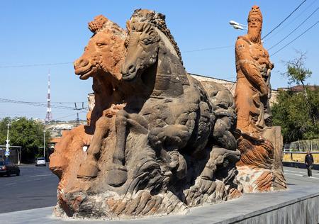YEREVAN, ARMENIA - SEPTEMBER 30,2017 :King Argishtis I statue at Erebuni fortress in Yerevan,Armenia.Sculptor Tokmajyan, Architect Baroyan, 2002.