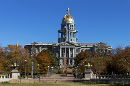 View from the park on Denver Colorado Capitol in Colorado,America. Stock Photo