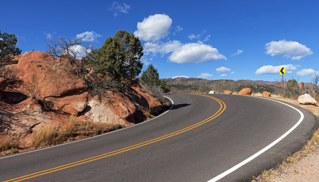 Winding road and mountain in Garden of the gods Colorado Springs.