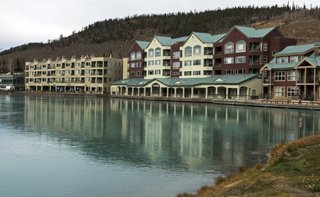 keystone: Autumn day in Colorado at the Keystone resort with water reflections in the lake of the hotel building