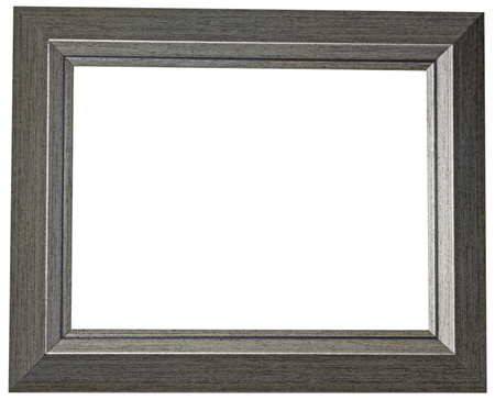 Wide flat gray picture frame on white background.