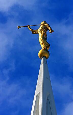 Statue of the angel Moroni, the San Diego  Mormon temple,California. Stock Photo