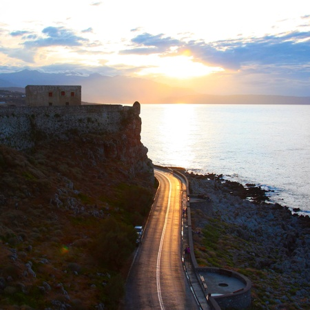 fortezza: road at sunset in Rethymno view from the Fortezza