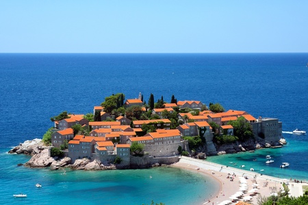 beaches: Sveti Stefan in daylight, top view Stock Photo