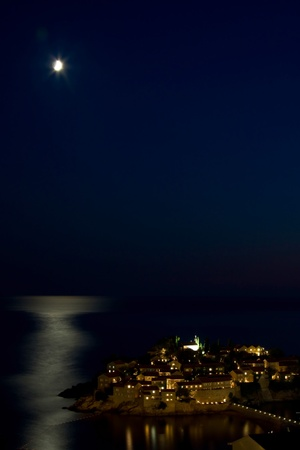 Sveti Stefan from the height of the moonlight photo