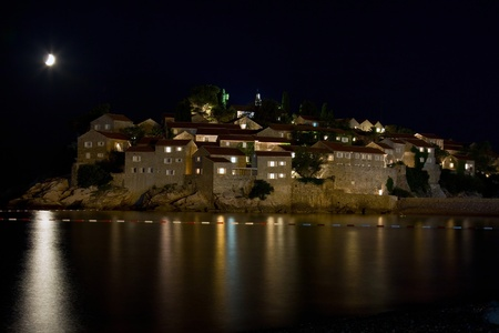 Sveti Stefan moonlit night photo