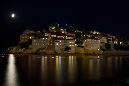 Sveti Stefan moonlit night Stock Photo - 10517023