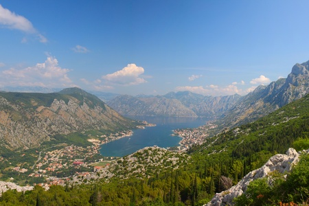 Bay of Boka Kotorska in sunny weather from the mountain top photo