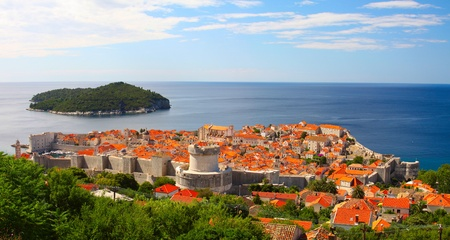 The fortress of Dubrovnik from the top on a sunny day photo