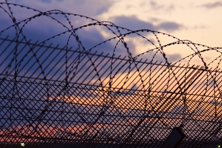 razor wire: barbed wire on the fence at sunset
