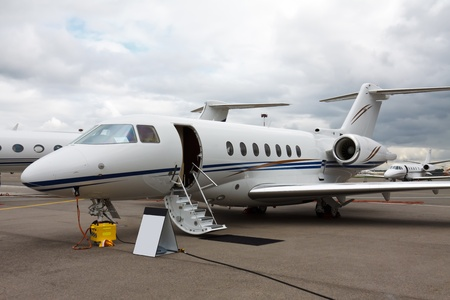 corporate jet: ladder in a private jet