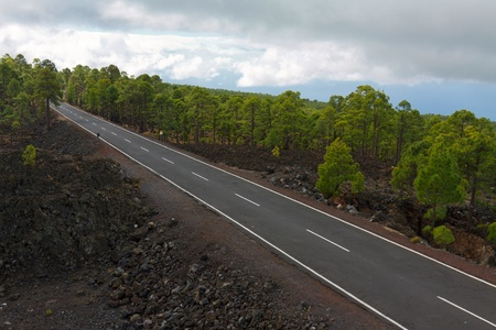 road in the frozen lava in the crater photo