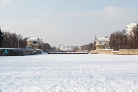 ice dam: lock chambers on the Moscow River