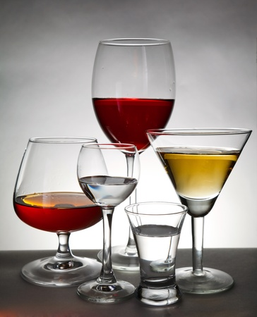 stemware on gray background