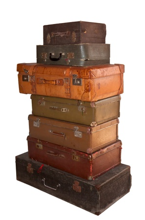 a lot of old suitcases  photo
