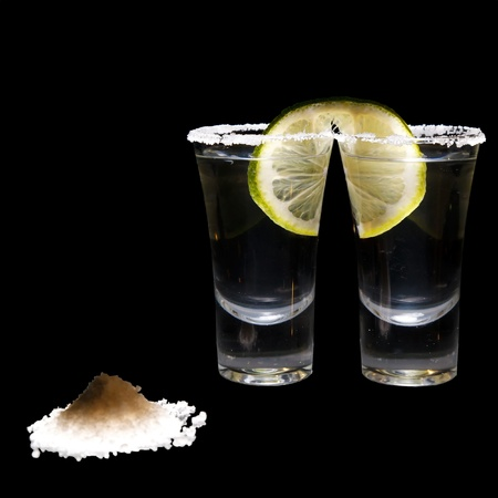 tequila: two shots of tequila with lime and salt Stock Photo