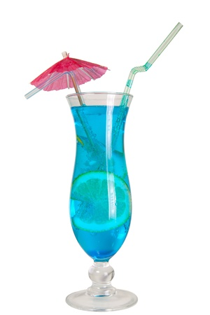 Blue Lagoon cocktail isolated  photo