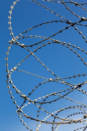 fencepost: barbed wire on the fence Stock Photo