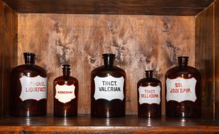 medicine cabinet: old pharmacy cabinet Stock Photo