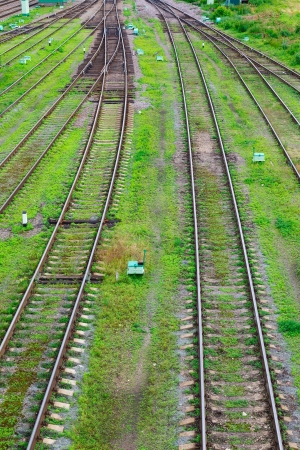 fork in the road and railway tracks on a background of green grass Stock fotó