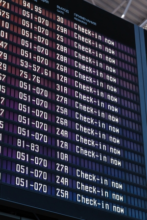 Airport flight information with the list of flights and information on registration