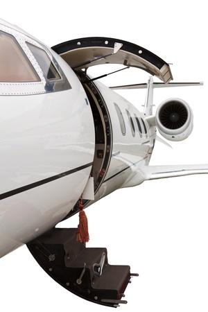 photo off ladder in a private jet Standard-Bild