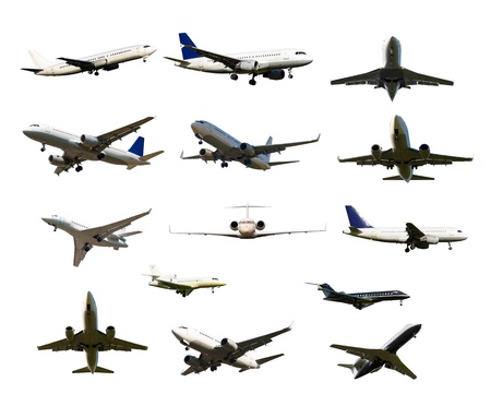 many aircraft with the gear and two jet engines, isolated on white background photo