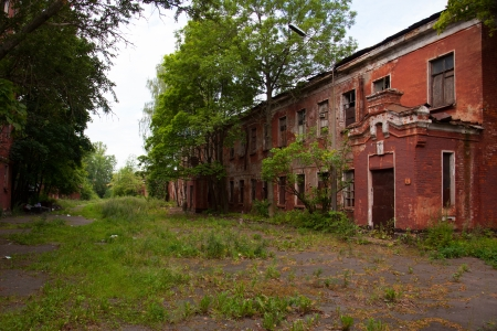 destroyed navy red brick barracks on the island of Kotlin in Kronstadt photo