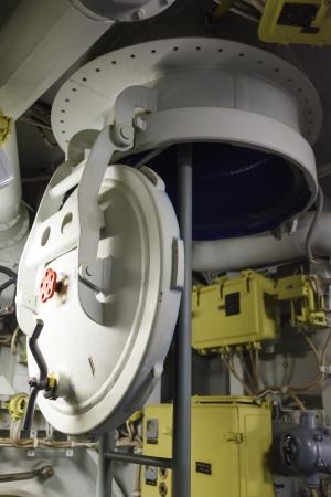 watertight: Round bulkhead door on a submarine