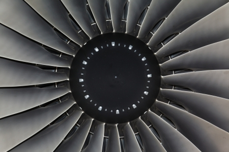 private parts: Wing and jet engine jet airliner and blade Stock Photo