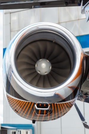 private parts: jet aircraft with rotating turbine blades photo