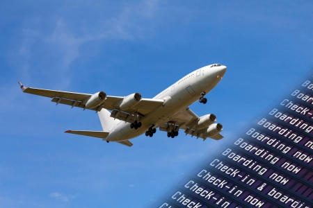 sky, airliner, Airport flight information with the list of flights photo