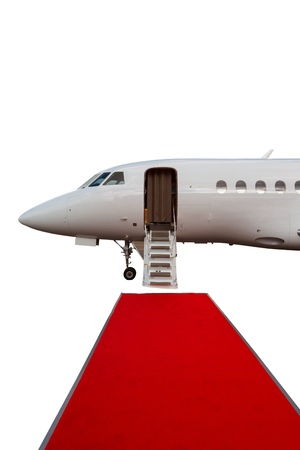 ladder in a private jet and red carpet isolated on white background photo