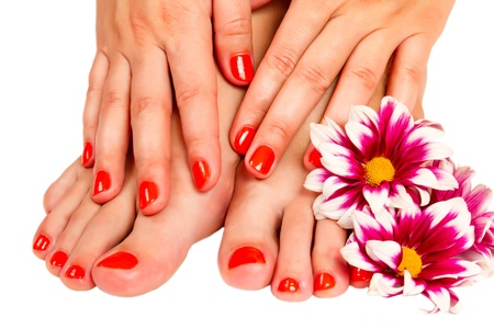 manicure and pedicure: pedicure feet and manicure on hands of a young woman and yellow gerbera flower isolated on white background Stock Photo