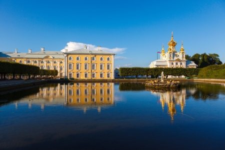 Palace church of Saints Peter and Paul in Peterhof in St  Petersburg in the summer sunshine photo