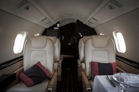 Luxury interior aircraft business aviation decorated table photo