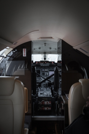 Luxury interior aircraft business aviation photo of
