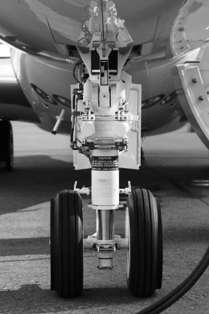 front landing gear light aircraft on the ground photo