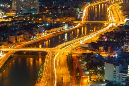 Saigon panorama of the city at night Stock Photo