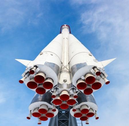 rocket engine on blue sky background
